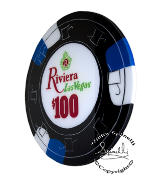 I almost made this casino chip in my first series however a little luck and serendipity came my way with a commission. So alas, it was destiny. The Riviera Hotel and Casino was one of the most popular casinos that appeared on the Las Vegas strip in 1955 and lasted until 2015. It had a Mediterranean theme to it, which of course I love. Hand Painted.   24 inch (60cm) diameter painted on canvas and solid wood with a shiny coat of resin. 1 inch thick.