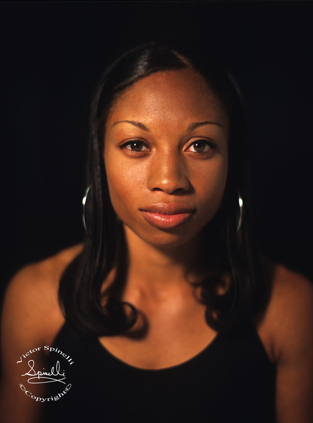 4 time Gold Medal winner Allyson Felix has just made her 4th USA Olympic team and she is on her way to Rio de Janeiro for the XXXI Olympiad which opens on August 5th 2016. 400 Meters to go for another GOLD! Image shot with a Contax 645. ©Victor Spinelli Archive