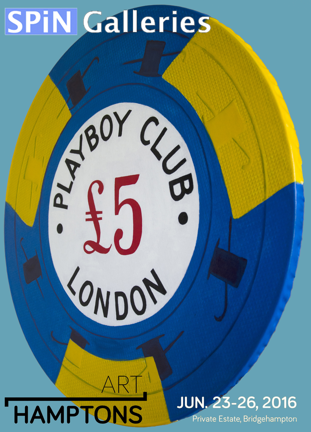 Another piece from my giant retro Casino Chips Series that will be shown at the ART Hamptons Fair next week. Come to Bridgehampton and please stop by Booth 119 for a treat.    The original Playboy Club in London opened during the Swinging Sixties (1966) after  the legalization of gambling in the United Kingdom.    Hand Painted  UNIQUE pieces. Painted with acrylic on canvas  and solid wood. 24  inch diameter by 1 inch thick.  #love —-SALE inquiries  Hello@SPiNgalleries.com