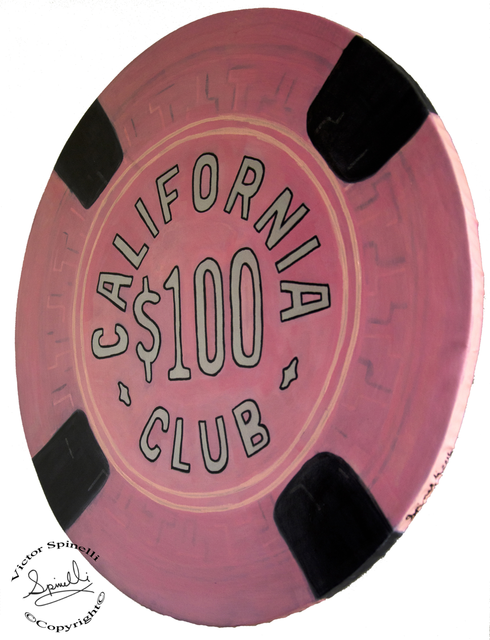 "In 1958 the California Club opened in Las Vegas on the corner of Fremont Street. This is yet another art piece from my giant ""Casino Chip Series"". Painted with acrylic on solid wood (24 inch diameter X ¾ inch thick).  Ready to hang in your entertainment room. In 1973 Wynn purchased the California Club and it then merged with the Golden Nugget. Hand painted unique piece. More of these fun pieces can be seen here:   http://www.victorspinelli.com/#/casino-chips/    Please inquire for SALES at Hello@SPiNgalleries.com"