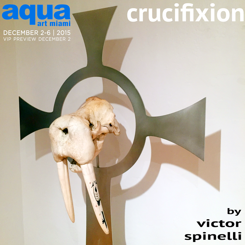 "The centerpiece of my ""Crucifixion Series"" is this very powerful Walrus (Odobenus rosmarus) skull that I placed on this Celtic Cross that I designed. The skull is over 50 years old and has 19 inch (48cm) Ivory tusks with authentic Eskimo scrimshaw carved into it.   Synopsis of the project:   As human development continues we are endangering many species on the  planet and driving them to extinction therefore I created crosses with 5  real animal skeletons and skulls on them. Crucifixion was originally for murderers, thieves, slaves, etc.  What are we doing now to our fellow species?   The same.    Polished Stainless Steel, 77x44 in (196x112cm) 150ibs (68 kg)"