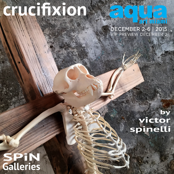 "Crucifixion Sculpture Series:          The premise of this  sculpture project of mine questions the inability of the Human species to live and share  our planet with our fellow animals therefore driving to extinction a great number of species.     This is the second of 5 sculptures that will debut at Aqua Art Miami during Art Basel week in Miami in December 2015.   Crucifixion, in the Pre-Christian era was usually reserved for slaves, disgraced soldiers and murderers.    Sculpture shown. ""Hanuman""        65x46 in  90 lbs.    Materials used: Real Monkey Skeleton, steel, copper, brass, wood, blood, sweat and tears."