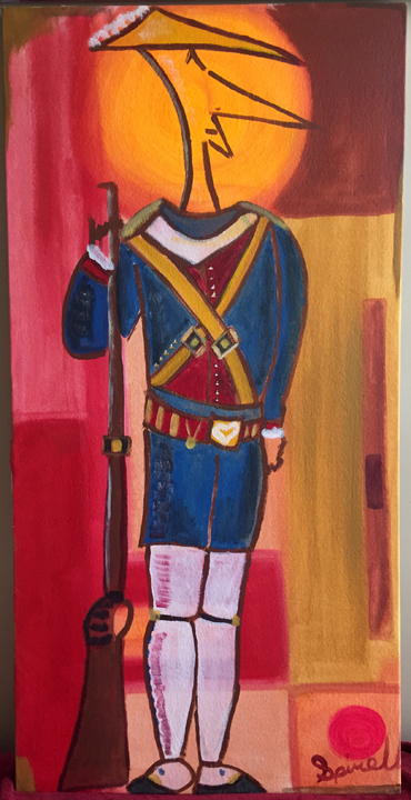 Lieutenant Biscuit. A fine sentry. Half French, Half Chinese and a loving peace maker. 23x46 on canvas.