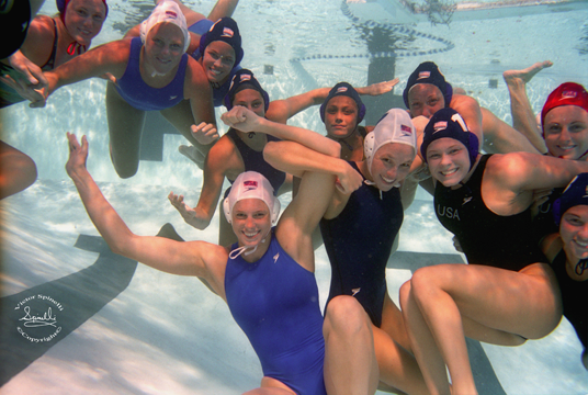 I just dug up this underwater photograph that I took of the 2004 USA Olympic womens  water polo team. Fun stuff. Nikonos V. Film Kodak Portra