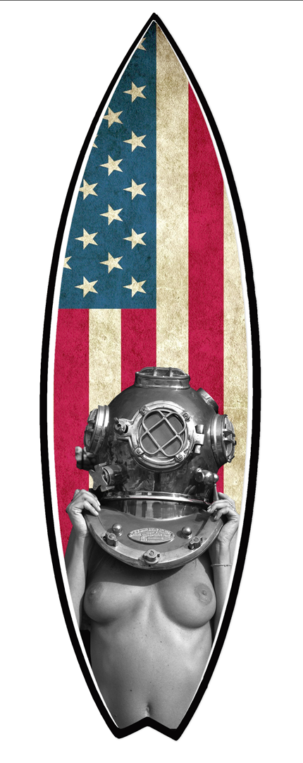 "Handmade ""Diver UP!"" Surfboard by Tim Bessell in La Jolla, California. http://www. timbessell .com"