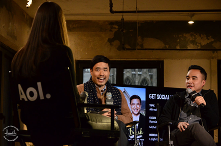 "Shooting backstage yesterday at AOL Build Studios with Actor Randall Park from the movie ""The Interview"" (with James Franco) and Producer of ""Fresh off the Boat"", Melvin Mar."