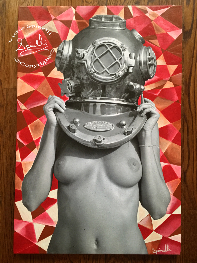 "My latest ""Diver UP!"" deemed Cubist Diver UP! 20x30in mixed media. Photo, canvas and acrylic."