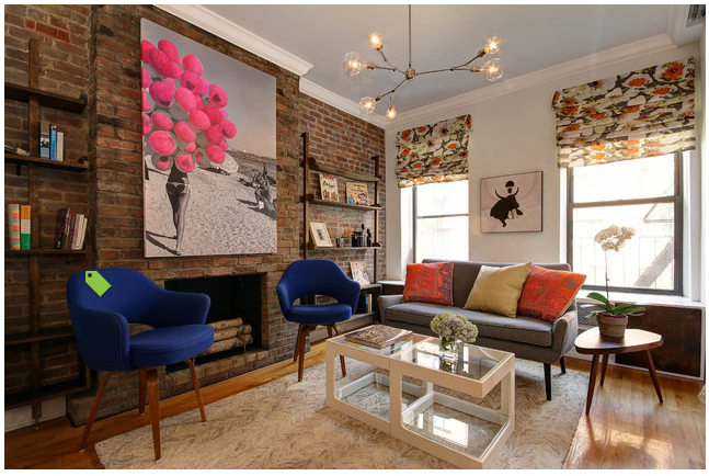 Interior Designer Justin Venk designed this room around my Balloon Beach Mixed media piece. Enjoy   Check this Link    http://www.houzz.com/photos/16174855/Chelsea-Studio-Apartment-contemporary-living-room-new-york