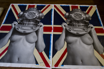Diver UP! Union Jack. No 1/12 & 2/12 being shipped to London for a collector today. 100x150cm. 40x60in Acrylic on canvas.