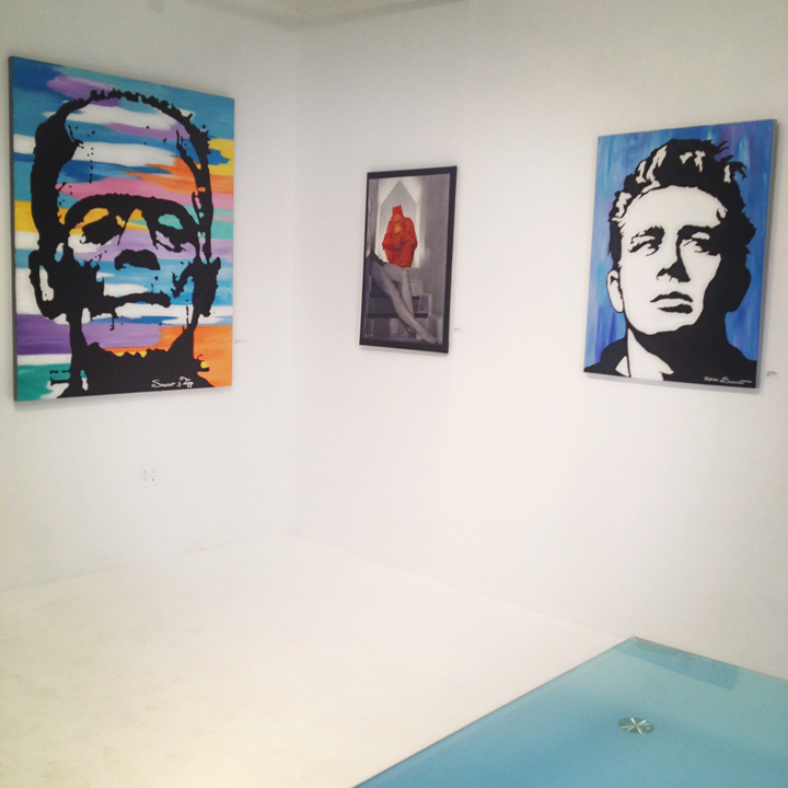 L-R Frankenstein (Funky Frank) by Steven Swancoat, Orangutan Dreams by Victor Spinelli & James Dean by Steven Swancoat at the SPiN Galleries in Chelsea, New York 516 w 25th St Gallery #306 NY NY 10001