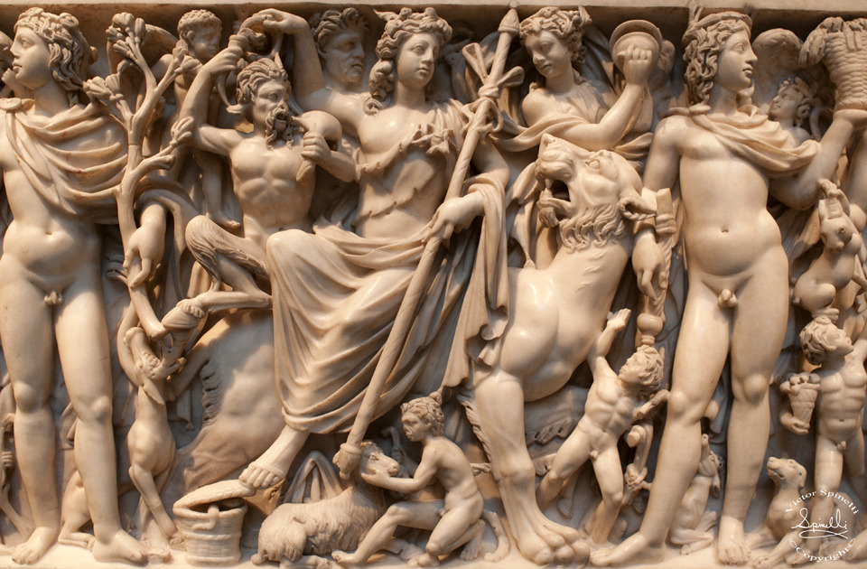 Close up detail of a Greco-Roman sarcophagus. Immense detail carved from marble.