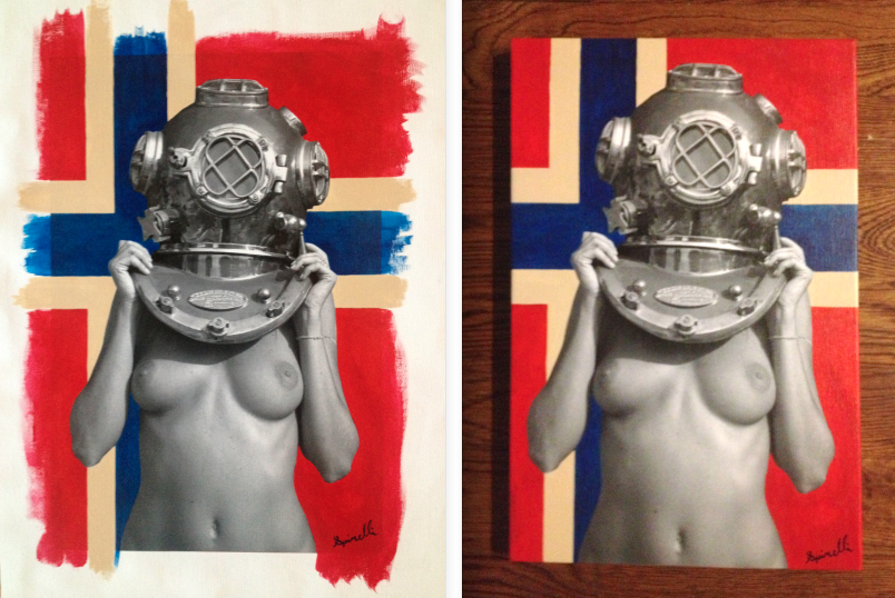 My latest commission piece. Diver UP! Norge (Norway). 12x18 in. L-R Before and after stretching. Photocanvas and acrylic paint. ©Victor Spinelli