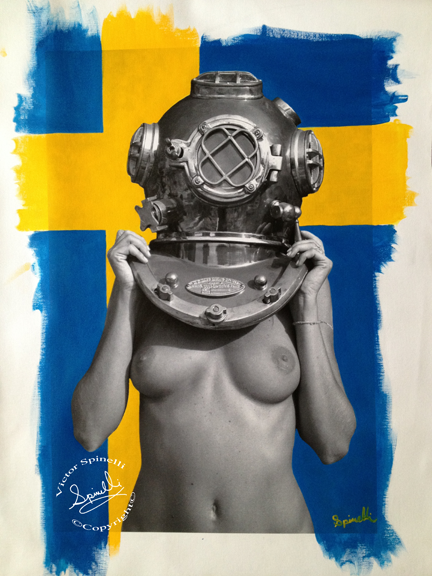Latest commission. Diver UP! Sverige (Sweden). Photocanvas and Acrylic. 16x24in. ©Victor Spinelli
