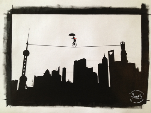 Tightrope over Pudong! Hanging at the SPiN Galleries in Shanghai. ©VictorSpinelli