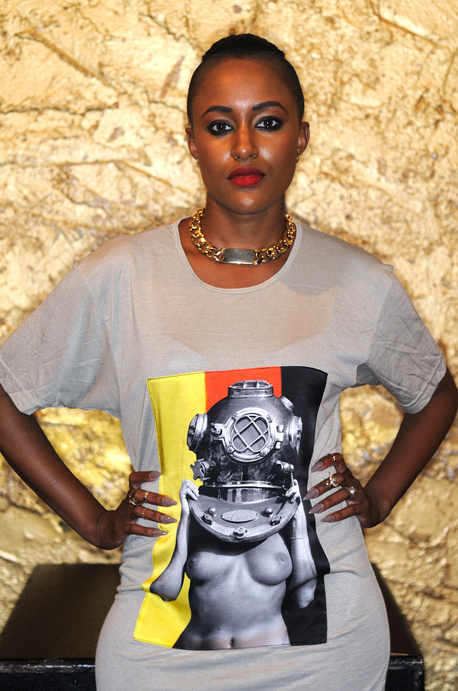 """Diver UP! Deutschland"" Viscose Tee with Silk Photograph. SSPiN Galleries Shanghai. MADE in USA. Shown on recording artist Chantaé Vetrice."
