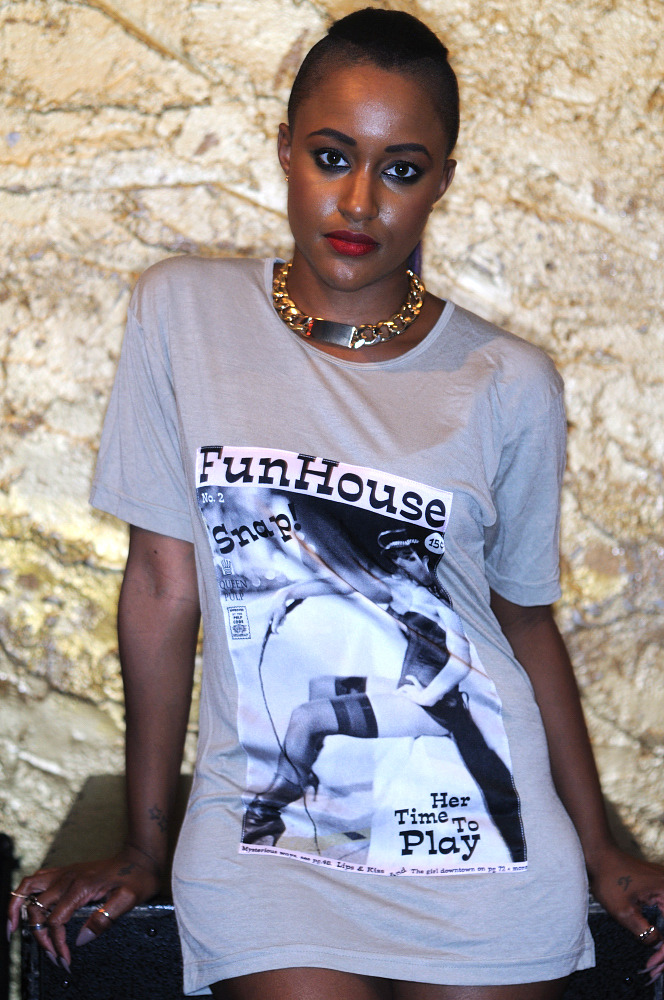 """Funhouse"" Viscose Tee with Silk Photograph. SPiN Galleries Shanghai. MADE in USA. Shown on Recording Artist, Chantae Vetrice."