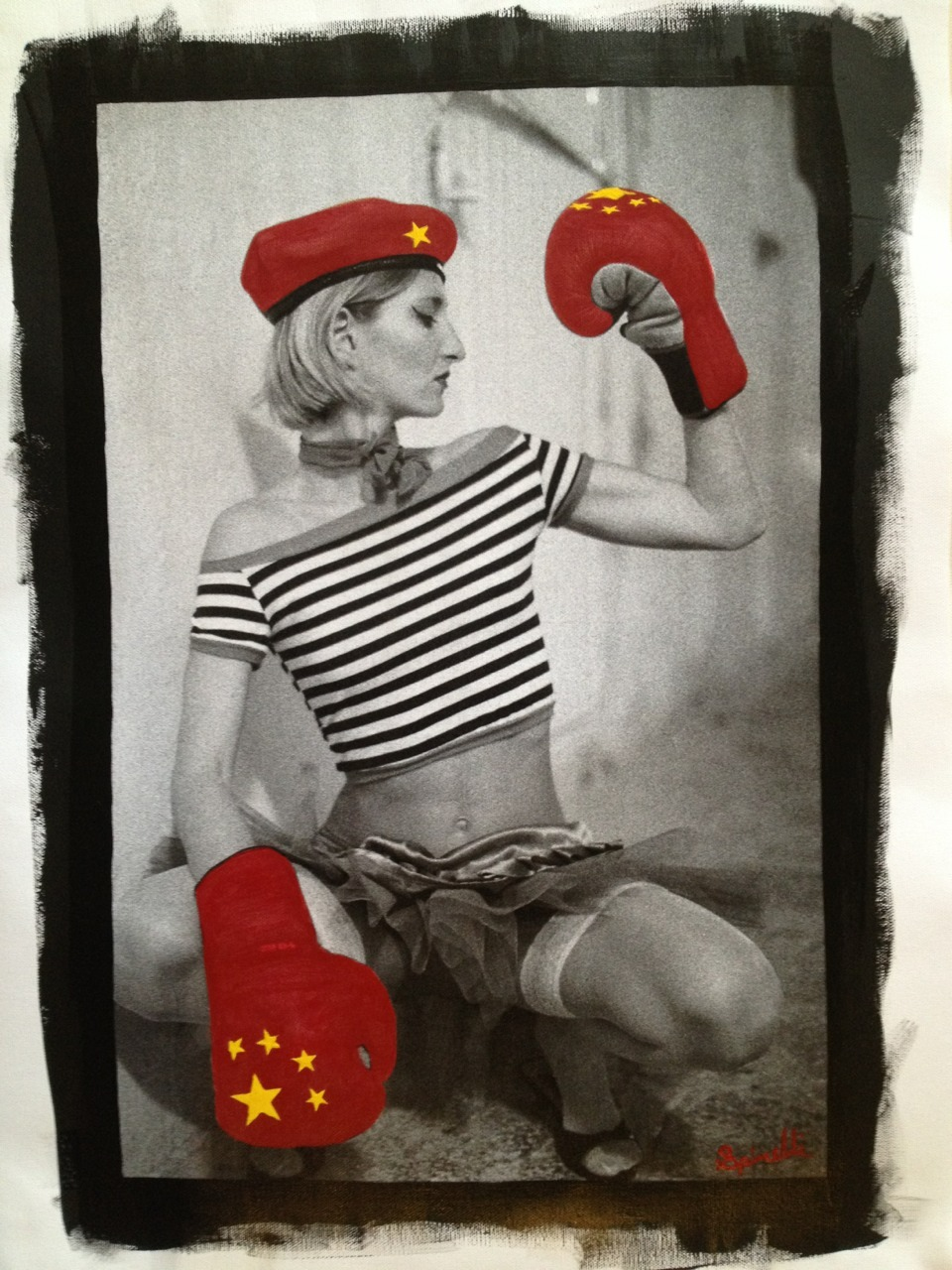 Boxeador de China! 31x45cm. New installation in The SPiN Galleries in Shanghai. Photocanvas mixed with Acrylic. Original photo shot with Kodak Film tmax 3200 iso. ©Victor Spinelli 2001 Ibiza, Spain.