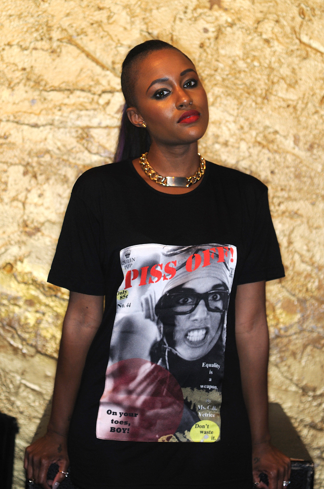"""Piss Off"" Viscose Tee with Silk Photograph. SPiN Galleries Shanghai. MADE in USA. Shown on Recording Artist, Chantae Vetrice Spinelli"
