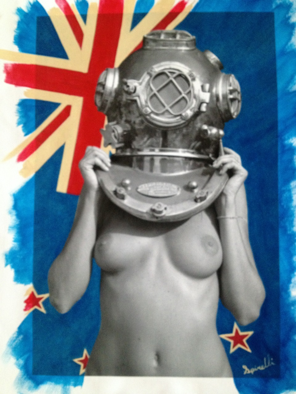 Another request from Shanghai and on its way to The SPiN Galleries in China. Diver UP! Kiwi (New Zealand). Photocanvas mixed with Acrylic. ©Victor Spinelli