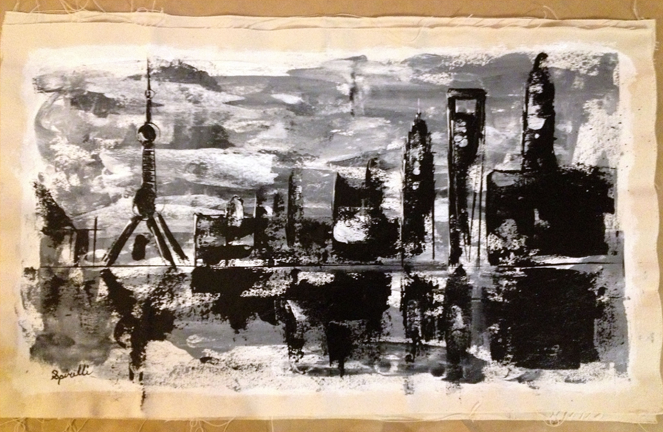 One of my architecture palate knife acrylic works of Pudong, hanging in the SPiN Galleries in Shanghai. On canvas 20x41in.