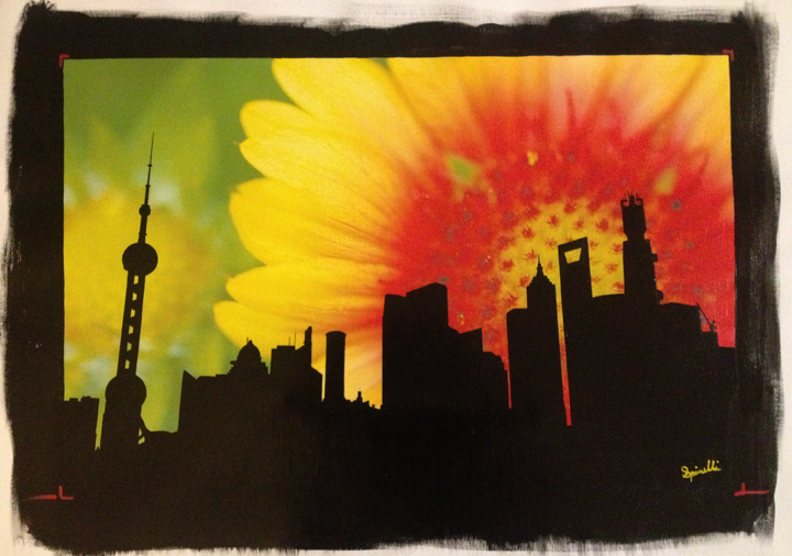 'Sunrise Flower over Pudong'. New Photographic canvas and acrylic montage hanging in the SPiN Galleries in Shanghai. Tian Zi Fang. 41x62.5cm. Flower photo was taken on E-6 film in 2002. Pudong was taken in March 2013. ©Victor Spinelli.