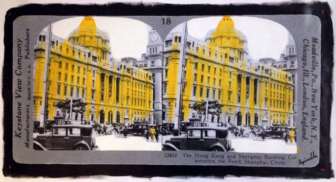New Mix Media piece at The SPiN Galleries in Shanghai. The Hong Kong and Shanghai Banking Corporation (HSBC) on The Bund. Original stereographic image from 1933 appropriated with acrylic paint. 51x102cm. SPiN Galleries in Taikang Lu, Lane 248 No 48. Tian Zi Fang. Shanghai. ©Victor Spinelli