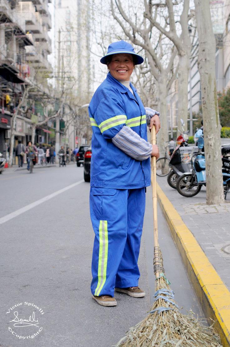 Some People of Shanghai. Street cleaner. Taikang Lu.