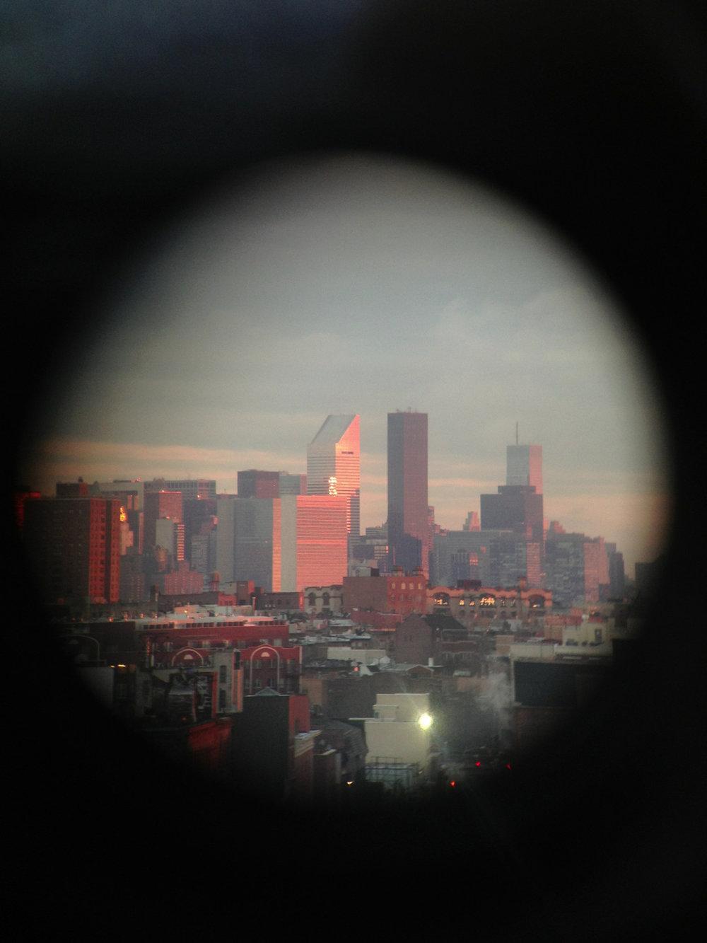 Sunrise over Brooklyn and Manhattan. 7am through a telescope.