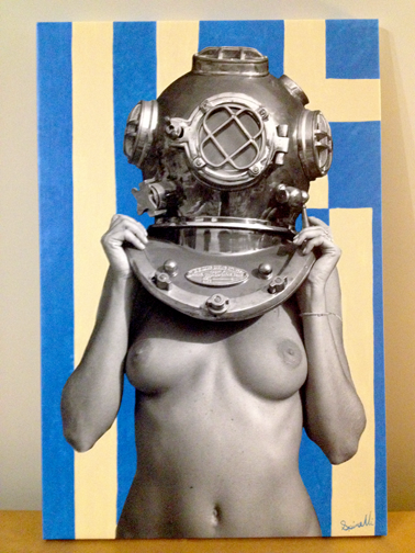 """Commission piece. """"Diver UP!"""" Hellas Rising 20x30in (50x76cm). Greek Flag. Photocanvas mixed with acrylic."""