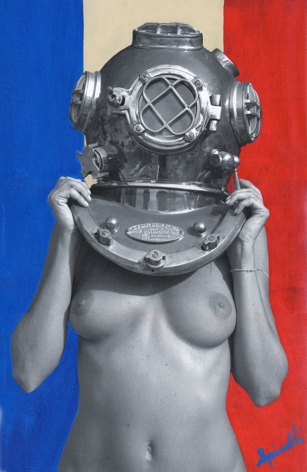 "Commission works. Diver UP! ""Vive La France"" 12x18in (30x45cm) Acrylic/oil on photocanvas. ©www.VictorSpinelli.com"