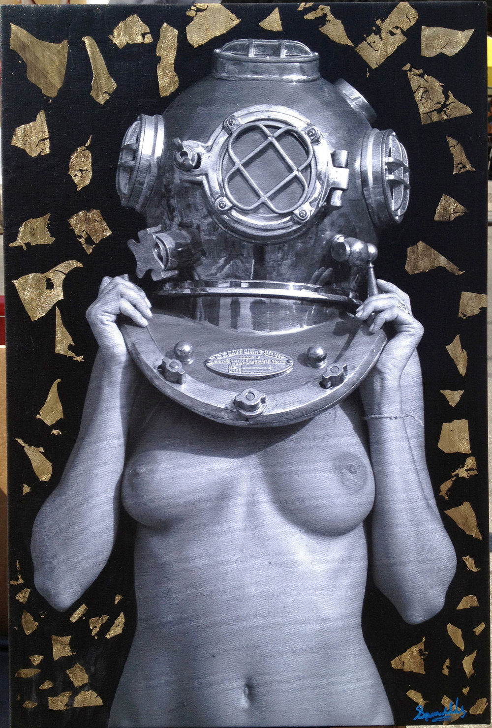 Diver UP! Golden Atomicus. 20x30 on canvas with Gold Leaf, Acrylic, Oil and medium. Septmeber 2012.