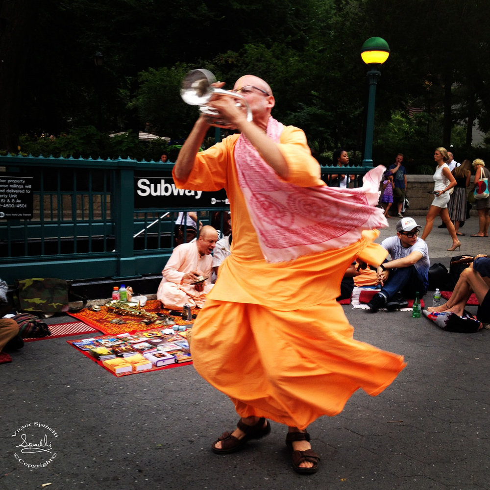 Hare Krishna trumpeter in Union SQ. Only in NYC