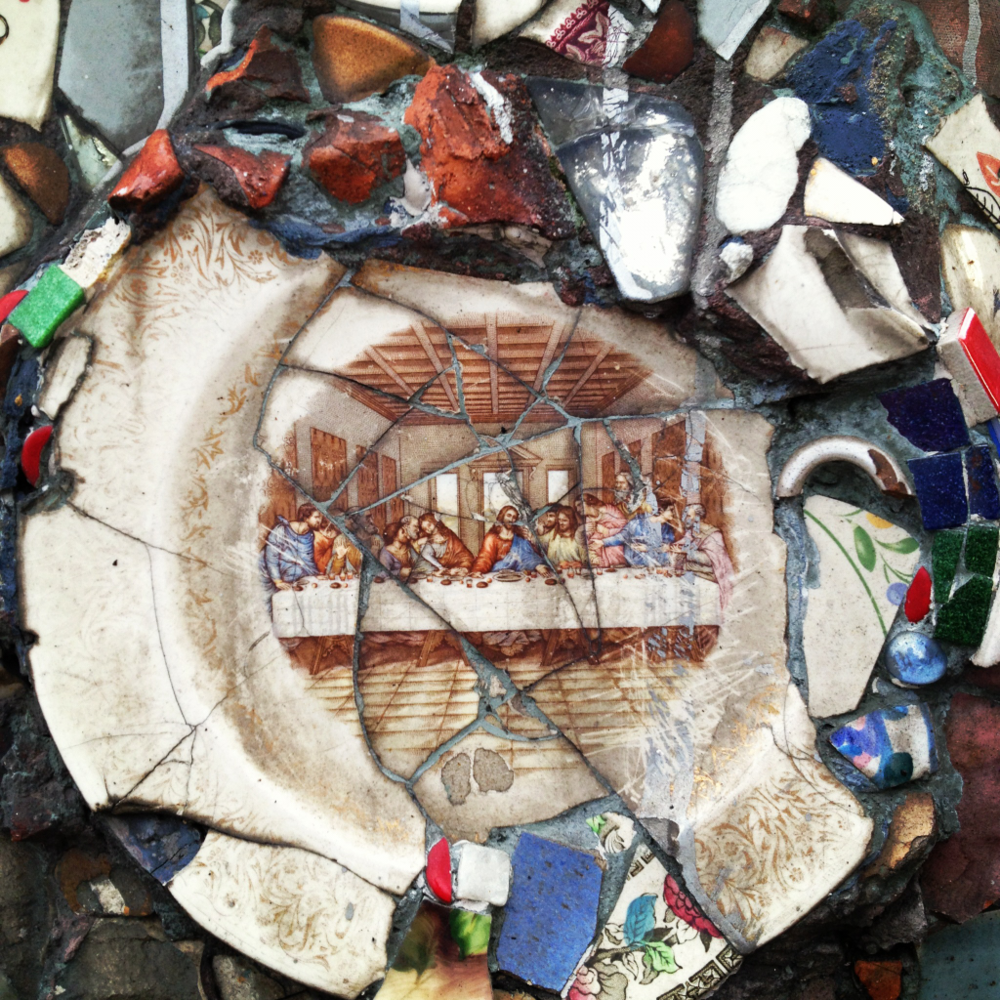 The Last supper. Mosaic taken from a lamp post base in the East Village. NYC