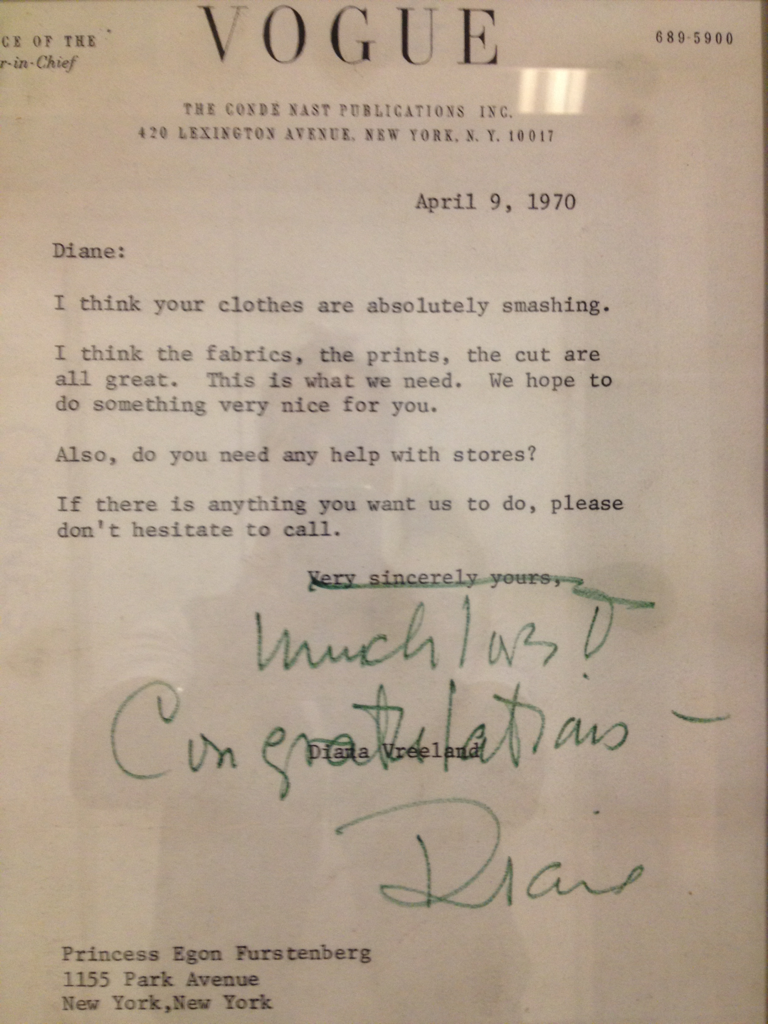 Bloomingdales display with a letter from Diane Vreeland.