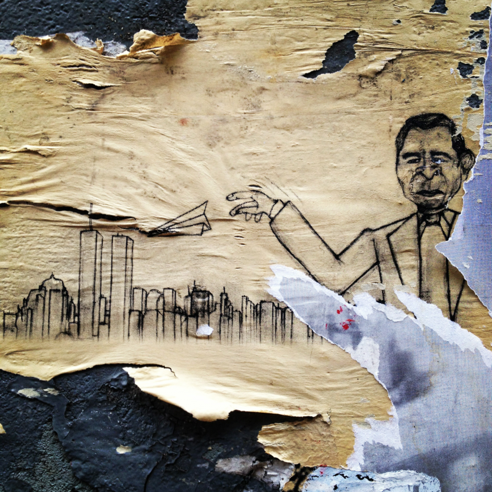 George Bush & his paper planes. Graffiti work around the Bowery.