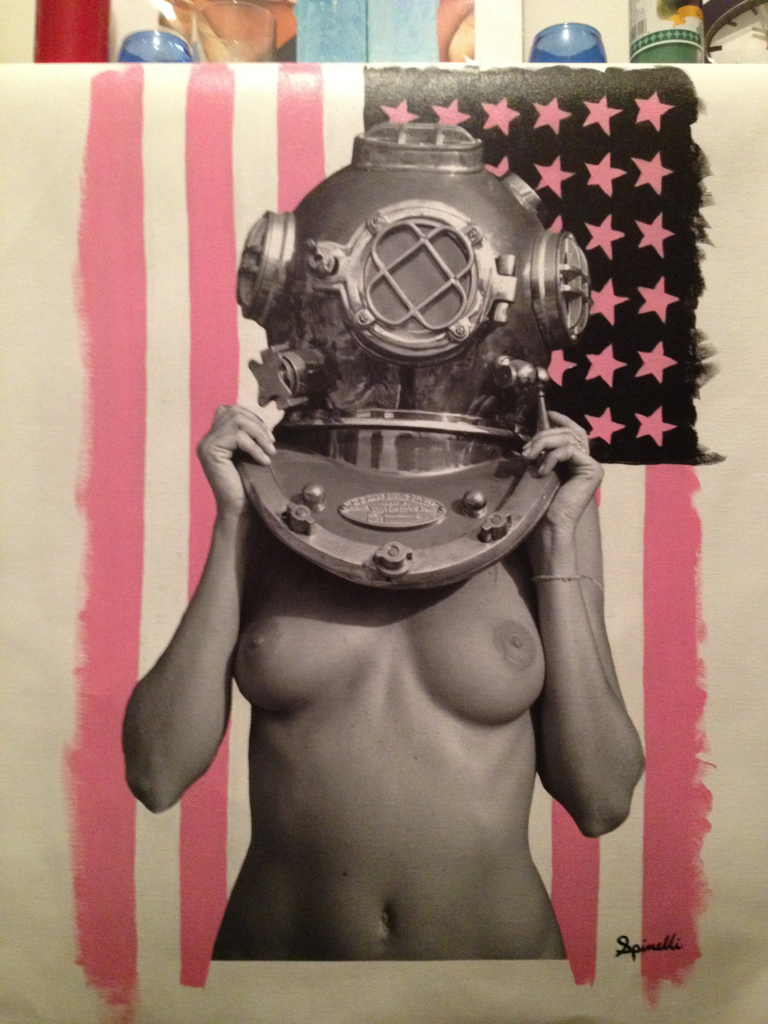 Diver UP! Pink Yankee #1. Mixed Media. 16x24in. Completed June 2, 2012.