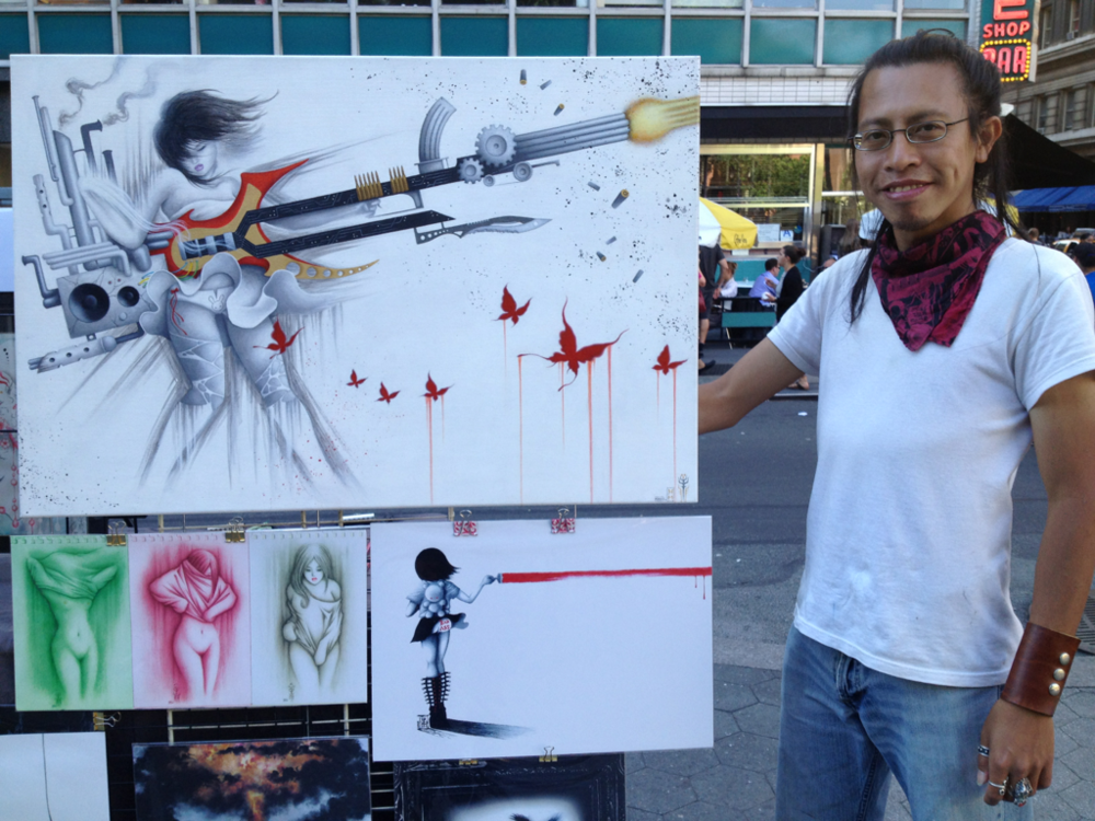 Artist Henry Minata and his latest acrylic piece, The Great Silence. More on his website:  www.CrimsonAsylum.webs.com