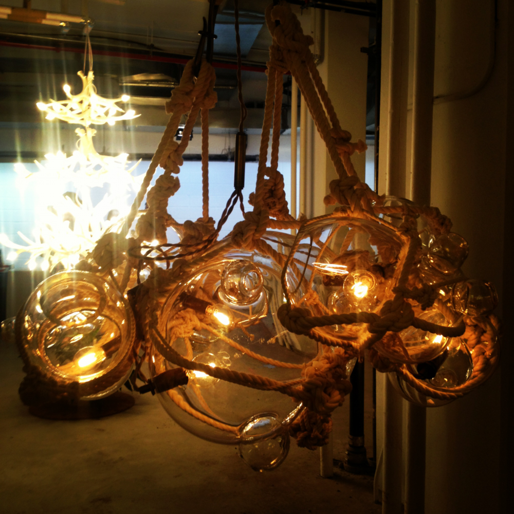 Knotty bubbles chandelier by Roll & Hill. NYC