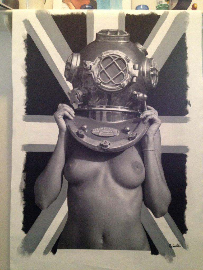 Diver UP! 'Black, White & Gray' Union Jack commission. 24x36. May 2012