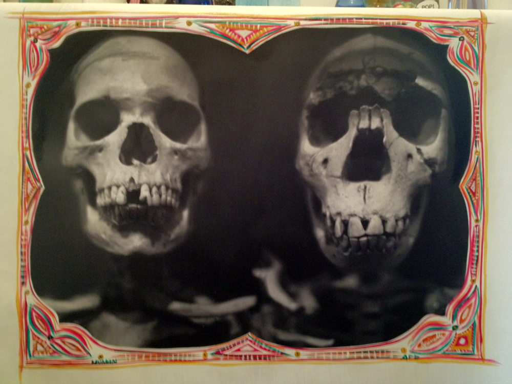 Sibling Skulls. Study #1. At the least, cousins. Original photograph, Nikon 1.8 35mm. Exposed on Kodak 400 iso B/W. Photocanvas mixed with acrylic. 20x26. Copyright Victor Spinelli