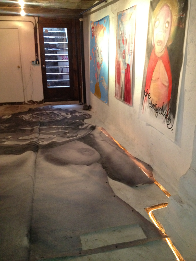 Diver UP! BIG. Rising again. First time in 2 years. Measuring at 21x8 feet. Jinn Gallery 119 Ludlow St. Lower East Side. NYC