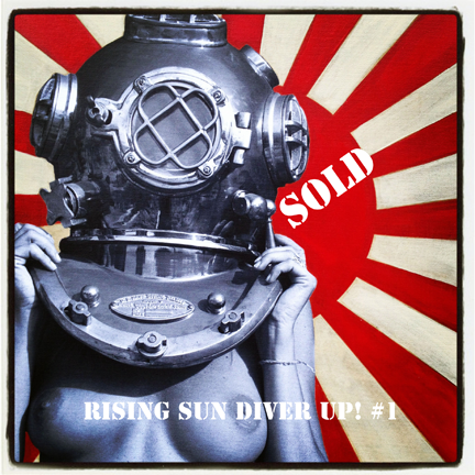 Sold: Diver UP! Rising Sun #1 16x24 Photo canvas mixed with acrylic.
