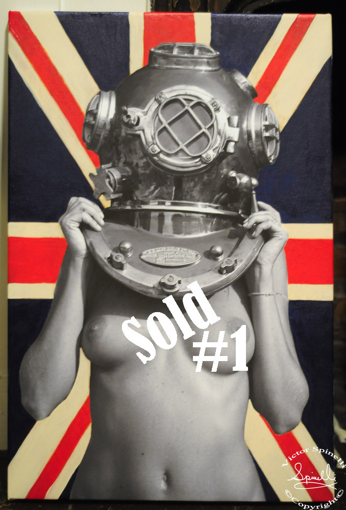 Union Jack Diver UP! #1 SOLD. 16x24in  Photo canvas mixed with acrylic.   Off to Germany.