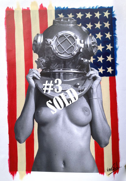 Diver UP! Yankee Edition #3 SOLD 16x24 Photo canvas mixed with acrylic   On its way to Zurich, Switzerland.