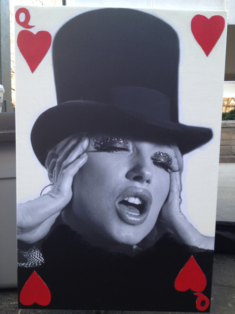 Do you like this? TopHat Queen of Hearts. 16x24in photo canvas mixed with Acrylic.