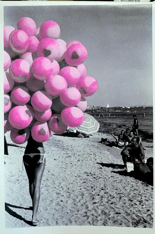 SOLD: Balloon Beach Pink. Photo canvas mixed with acrylic paint 16x24in (40x60cm). ©Victor Spinelli Archive