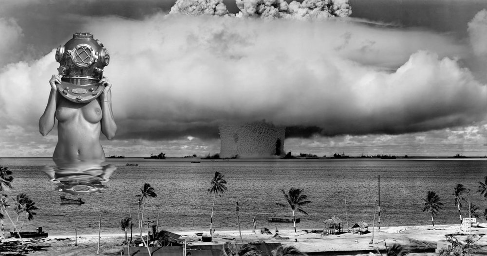 "BAKER TEST : According to Wikipedia  Operation Crossroads  was a series of  nuclear weapon  tests conducted by the  United States  at  Bikini Atoll  in mid-1946. It was the first test of a nuclear weapon after the  Trinity  nuclear test in July 1945. Its purpose was to investigate the effect of nuclear weapons on naval ships.     Cameras  (now this is amazing)       Radio-controlled  autopilots  were installed in eight  B-17  bombers, converting them into  remote-controlled drones  which were then loaded with automatic cameras, radiation detectors, and  air sample collectors. Their pilots operated them from mother planes at  a safe distance from the detonations. The drones were able to fly into  radiation environments, such as  Able's   mushroom cloud , which would be lethal to live crew members.   [ 37 ]      All the land-based detonation-sequence photographs were taken by  remote control from tall towers erected on several islands of the atoll.  In all, Bikini cameras would take 50,000 still pictures and 1,500,000  feet (457 km) of  motion picture  film. One of the cameras could shoot 1,000 frames per second.   [ 38 ]      Before the first test, all personnel were evacuated from the target  fleet and Bikini Atoll. They boarded ships of the support fleet, which  took safe positions at least 10 nautical miles (18.5 km) east of the  atoll. Test personnel were issued special dark glasses to protect their  eyes, but a decision was made shortly before test  Able  that the  glasses might not be adequate. Personnel were instructed to turn away  from the blast, shut their eyes, and cradle their arm across their face  for additional protection. A few observers who disregarded the  recommended precautions advised the others when the bomb detonated. Most  shipboard observers reported feeling a slight  concussion  and hearing a disappointing little ""poom"".   [ 36 ]        P.S. The women in the photograph survived."
