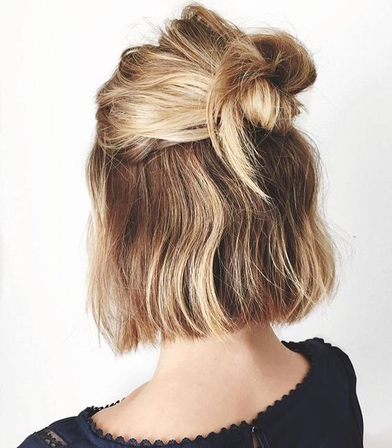 half up top knot - Source: Pinterest