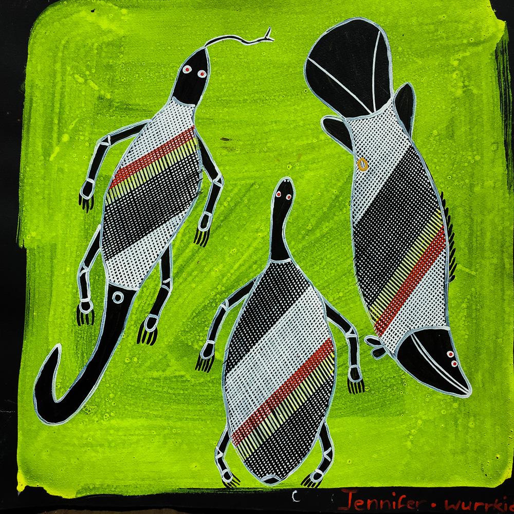 Jennifer Wurrkidj Goanna, Sea Turtle and Barramundi.