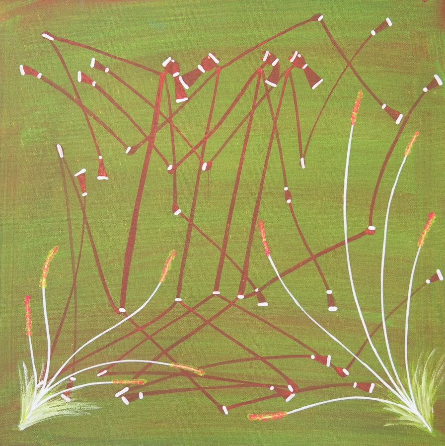 Ivan Namarnyilk 2016 Mission grass messing with Mimih spirits 48 x 48 cm Ochre, pigment, acrylic on canvas